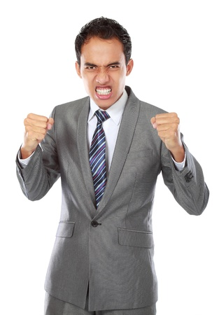 portrait of asian angry businessman ready to fight photo
