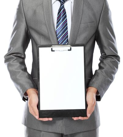body portrait of business man showing blank clipboard isolated on white background photo