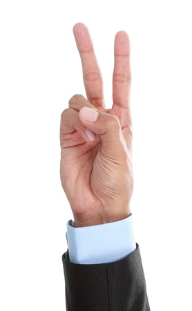 little finger: hand peace sign isolated on white background Stock Photo