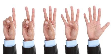 comunicacion no verbal: Juego de muestra de la mano contando aisladas sobre fondo blanco Foto de archivo