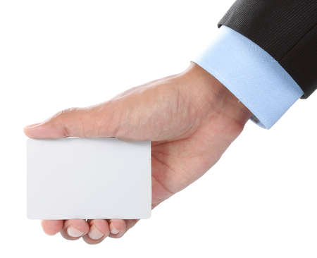 Hand and a blank card isolated on white background photo
