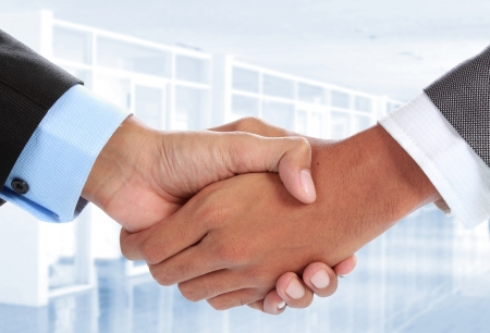 squeezing: close up portrait of Two businessmans hand shake