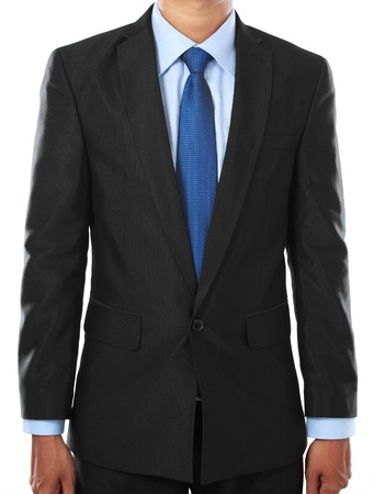 white body suit: businessman body part portrait isolated over white background