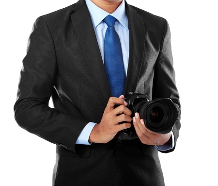 cropped portrait of professional photographer holding dslr camera isolated over white background Stock Photo - 14314666