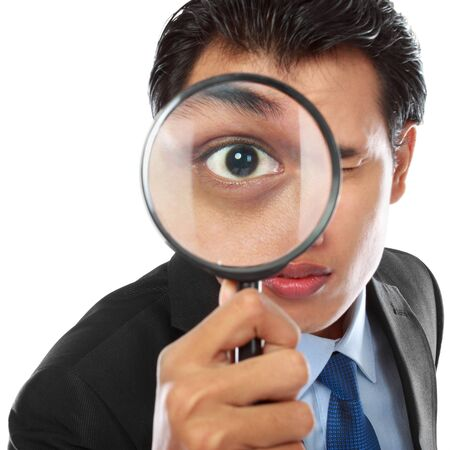 solver: business concept - businessman with magnifying glass