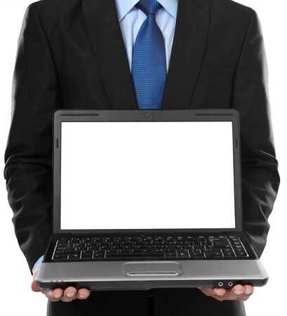 Close-up of business man presenting blank laptop screen photo
