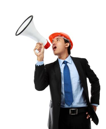 business man shouting using megaphone isolated on white background photo