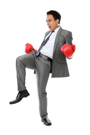 portrait of happy businessman with boxing glove. success concept photo