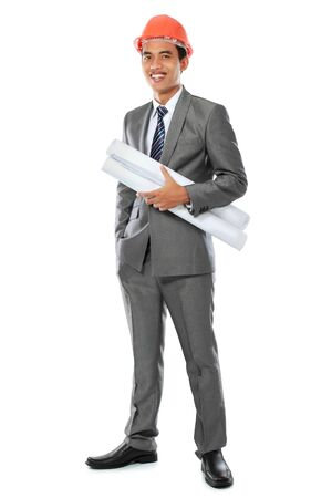 young handsome architect. Isolated over white background photo