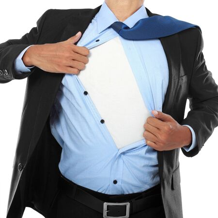 striping: Businessman showing a superhero suit underneath his suit Stock Photo