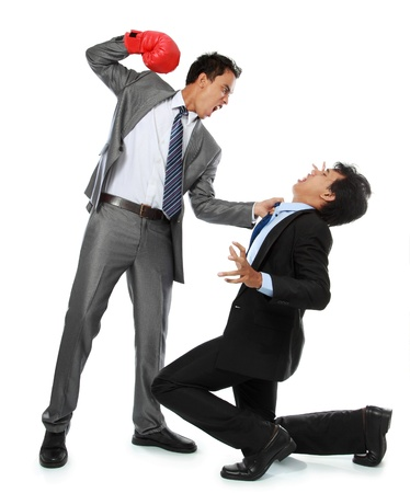 rival: businessmen fighting with his rival isolated over white background Stock Photo