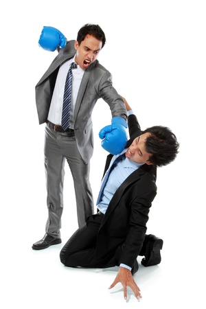 angry businessman: businessman hit his rival in the face isolated over white background Stock Photo