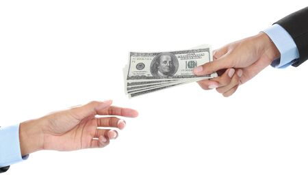 Hand giving some money isolated on white background photo