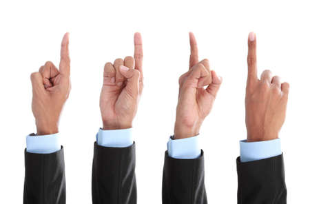 dictatorial: four side of businessmans hands pointing isolated on white background