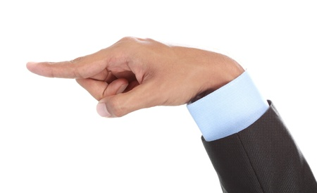 dictatorial: businessmans hand pointing isolated on white background