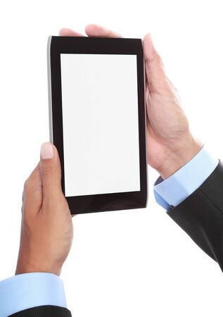 close up of businessmans hand holding tablet photo
