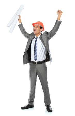 Excited contractor celebrating success isolated on white background photo