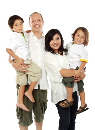 happy asian family: Beautiful mixed race family - isolated over a white background Stock Photo