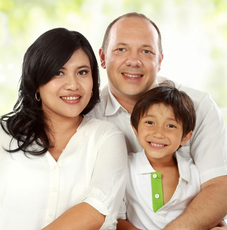 close up of Happy family portrait smiling photo