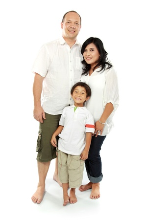 Beautiful mixed race family - isolated over a white background photo