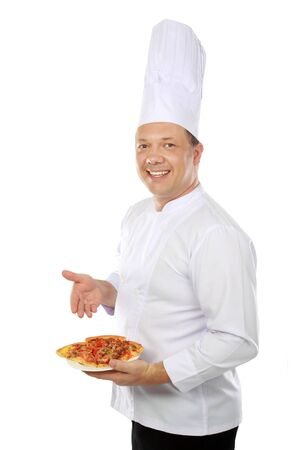 chef serving pizza isolated on white background photo