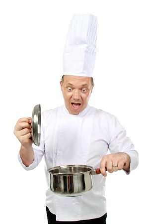 chef shocked looking at the pot cooking a wrong food photo