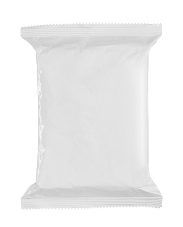 plastic wrap: white food plastic packaging. isolated over white background