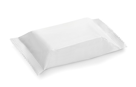 plastic wrap: white potato chips blank package on white background