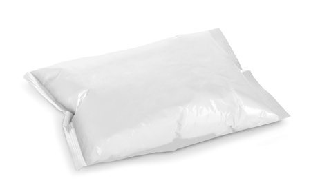 blank plastic package on white background photo