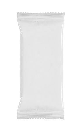 sachets: blank white product packaging on white bacground