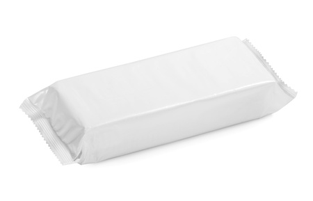 plastic wrap: white blank package on white background Stock Photo
