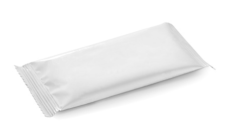 blank white food packaging on white bacground photo