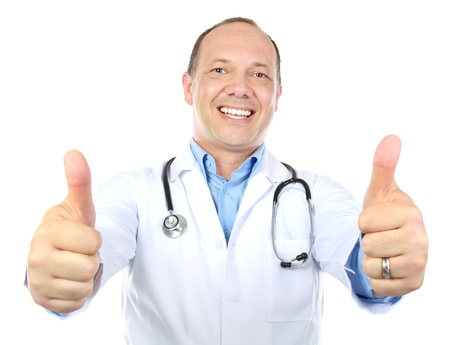 excellent: a portrait of caucasian doctor showing okay gesture isolated on white background