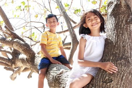ni�os jugando en la escuela: Dos ni�os que se sientan en el �rbol