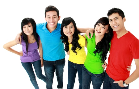 friends party: Group of casual young people smiling and look at camera Stock Photo