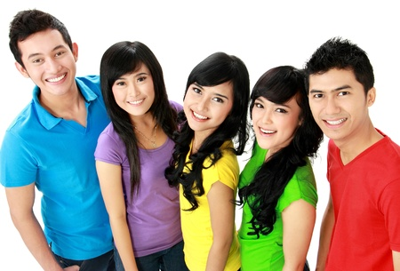 Group of colorful casual young people smiling and look at camera Stock Photo - 16035461