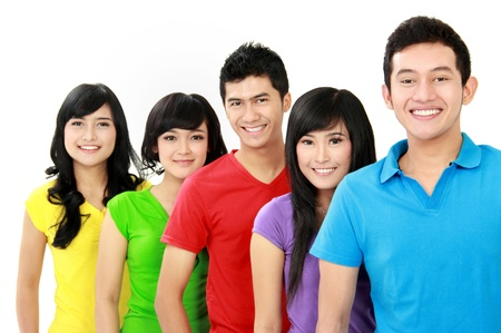 Group of casual colorful young people looking at camera photo