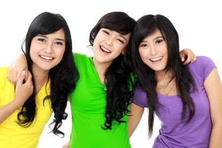 group of woman best friend isolated against white background photo
