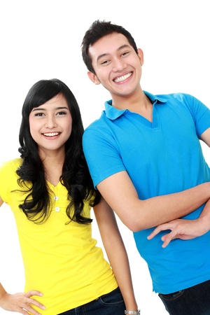 teenagers laughing: boy and girl teenager smiling and look at camera