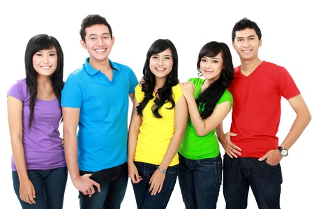 colorful Group of five happy teenagers isolated over white background Stock Photo - 16035494