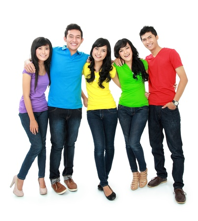happy group of teenager against white background Stock Photo - 16035523