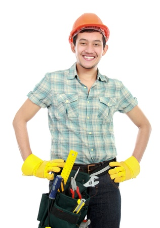 portrait of an happy worker with tools isolated on white background photo