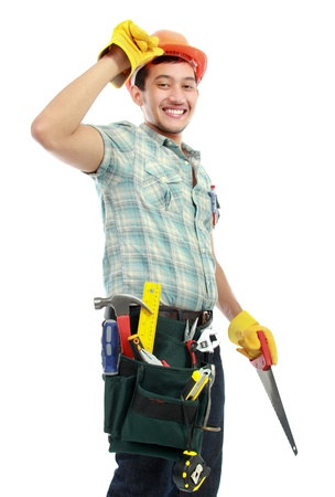 asian architect: portrait of an happy worker with tools isolated on white background