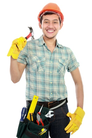 Portrait of happy builder worker isolated over white background photo
