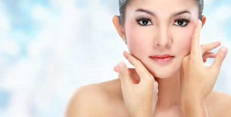 Beautiful woman face with smile for skincare, cosmetic, beauty hygiene, makeup, moisturize photo