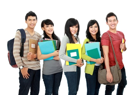 potrait of students holding notebooks and smiling photo
