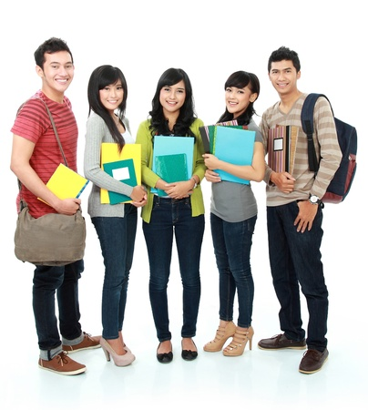 potrait Group of students holding books isolated over white background photo