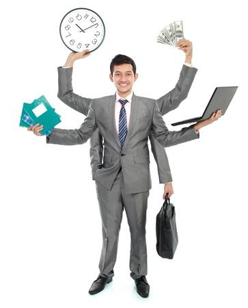 potrait d'homme d'affaires occupé, faire plus d'un emploi Banque d'images