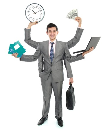 many hands: potrait of busy business man, do more than one job Stock Photo