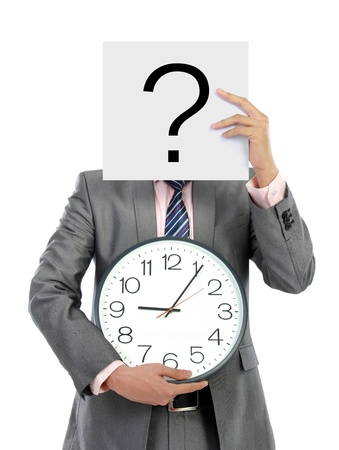 portrait business man, hold a clock and sign over his face Stock Photo - 16244927